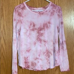 American Eagle Womens Pink Tie-Dye Long Sleeve Tee